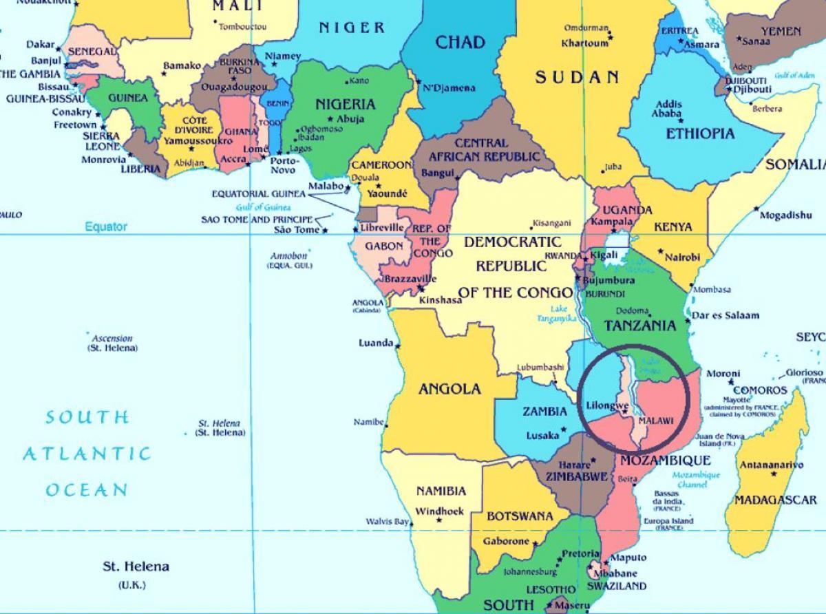 Malawi Orszag Terkep Malawi Orszag A World Map Kelet Afrikaban